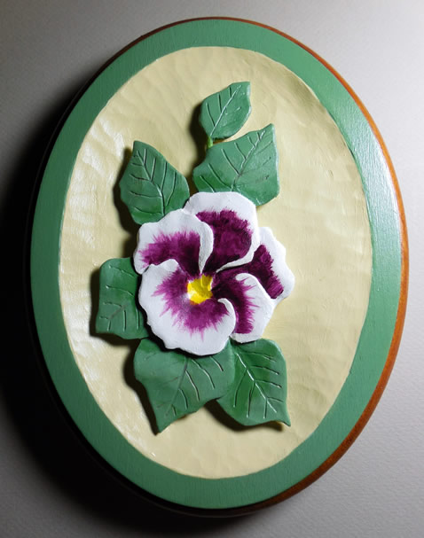 Purple pansy relief wood carving pattern
